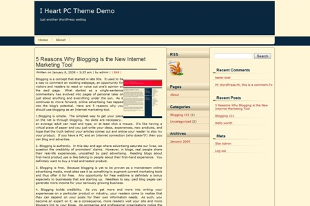 FireShot Pro capture #4 - 'I Heart PC Theme Demo » Blog Archive » 5 Reasons Why Blogging is the New Internet Marketing Tool' - demo_iheartpc_com_2009_01_08_5-reasons-why-blogging-is-the-new-internet-